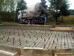 прием бетона - фундамент плита
